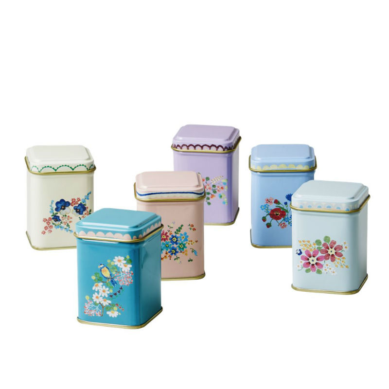 Set of 6 spice tins pinks green for Retro kitchen set of 6 spice tins