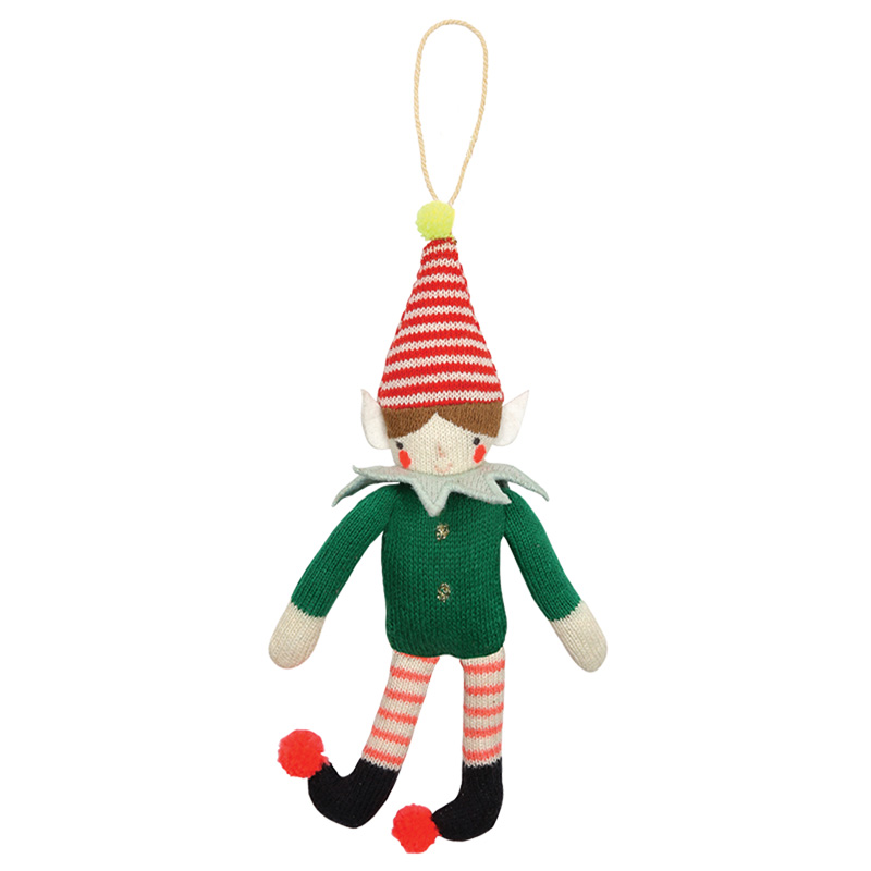 knitted elf christmas tree decoration